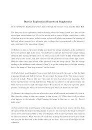 Physics Exploration Homework Supplement