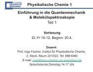 Ziele der Vorlesung - Institut für Physikalische Chemie