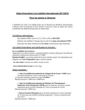 Aides financières à la mobilité internationale 2011/2012 Pour les ...