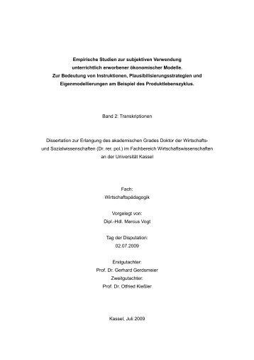 Transkriptionen - KOBRA - Universität Kassel