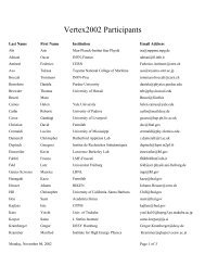Participant list (Vertex2002 Workshop) - University of Hawaii
