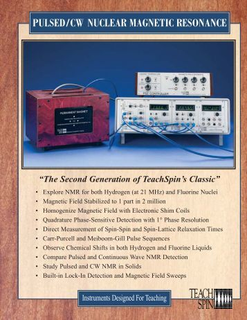 Pulsed/CW Nuclear Magnetic Resonance Brochure - TeachSpin