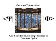 Quantum Teleportation - Racah Institute of Physics