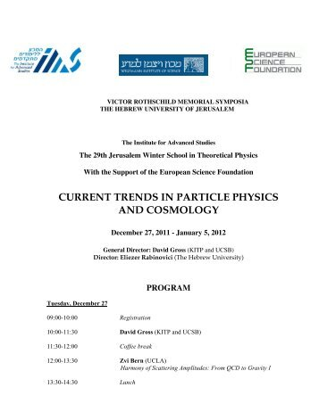 current trends in particle physics and cosmology - Racah Institute of ...