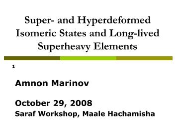 Part I: A. Marinov, Hebrew U