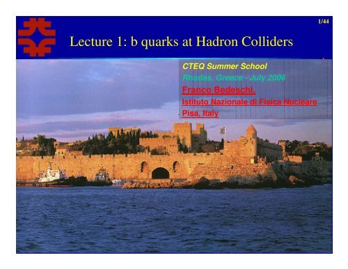 Lecture 1: b quarks at Hadron Colliders