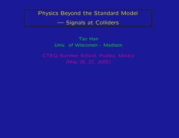 Physics Beyond the Standard Model — Signals at Colliders