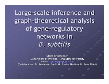 Gene-regulatory networks - Department of Physics - Penn State ...