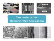 Nanomaterials for Nanomaterials for Thermoelectric Applications