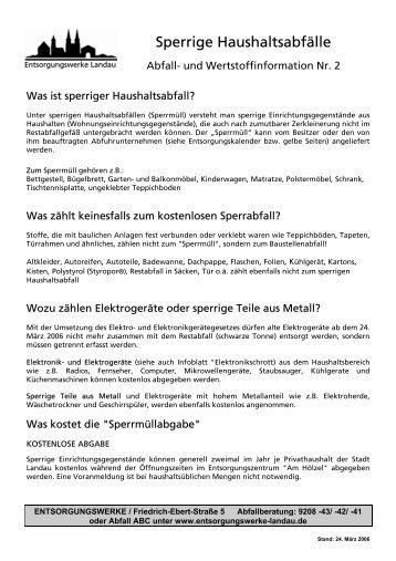 Sperrige Haushaltsabfälle - Entsorgungs- und Wirtschaftsbetrieb ...