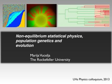 Non-equilibrium statistical physics, population genetics and evolution