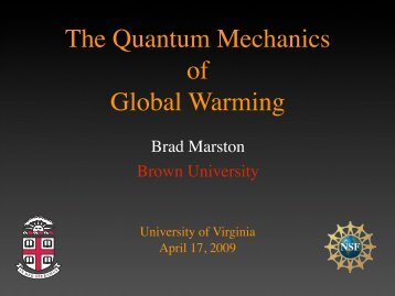 The Quantum Mechanics of Global Warming - University of Virginia
