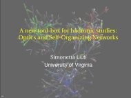 A new toolbox for hadronic studies - University of Virginia