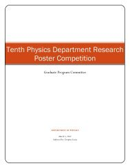 Tenth Physics Department Research Poster Competition