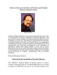 2012 Institute of Nuclear and Particle Physics Annual Lecture