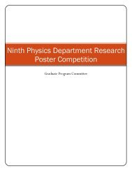 Ninth Physics Department Research Poster Competition