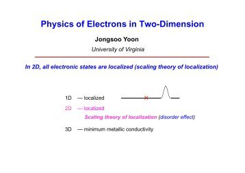 Physics of Electrons in Two-Dimension × - University of Virginia