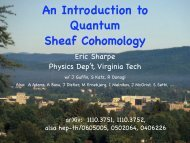 An Introduction to Quantum Sheaf Cohomology - Physics - Virginia ...