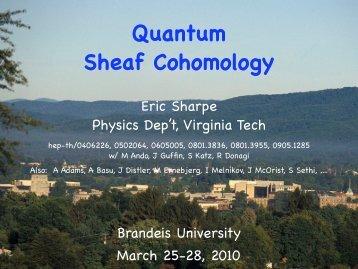 Quantum Sheaf Cohomology - Physics - Virginia Tech