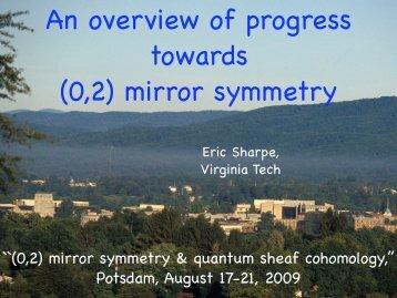 (0,2) mirror symmetry - Physics - Virginia Tech