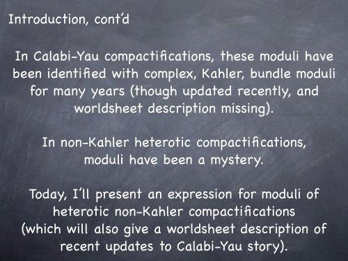 Moduli of heterotic string compactifications - Physics - Virginia Tech