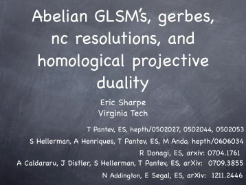 Abelian GLSMs, gerbes, nc resolutions, and homological projectve ...