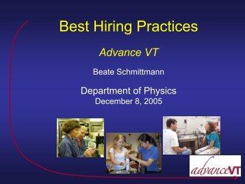 Best Hiring Practices - Physics