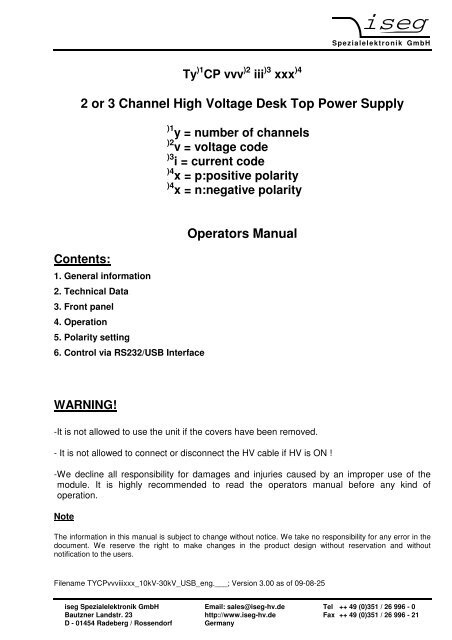 2 or 3 Channel High Voltage Desk Top Power Supply Operators