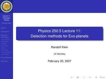 Physics 250.5 Lecture 11: Detection methods for Exo-planets