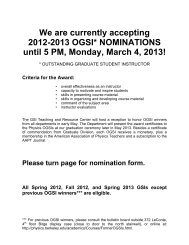 We are currently accepting 2012-2013 OGSI ... - Physics