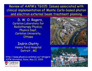 Review of AAPM's TG105 - Carleton University