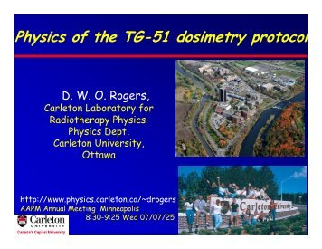 Physics of the TG-51 dosimetry protocol - Carleton University