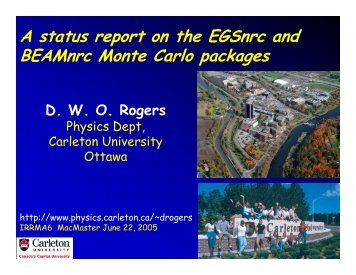 A status report on the EGSnrc and BEAMnrc Monte Carlo packages