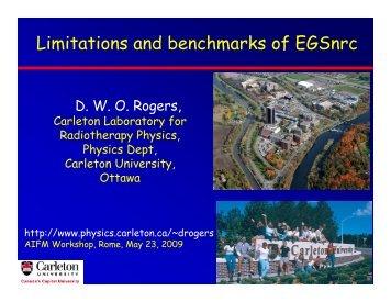 Limitations and benchmarks of EGSnrc (pdf) - Carleton University