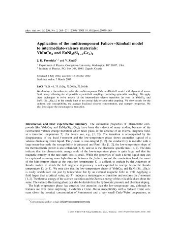 Application of the multicomponent Falicov–Kimball model to ...