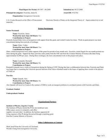 Final Report - Physics - Georgetown University
