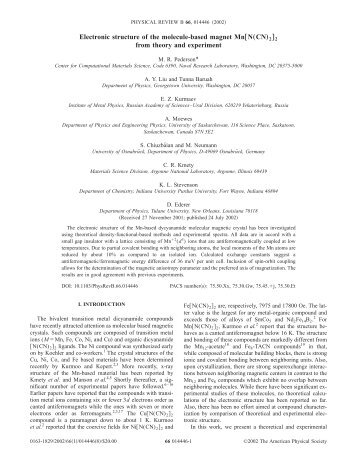 """Electronic structure of the molecule-based magnet Mn†N""""CN…2‡2 ..."""