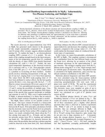 Beyond Eliashberg superconductivity in MgB2 - Physics ...