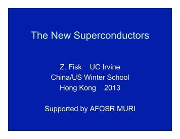 The New Superconductors Hong Kong - Department of Physics, HKU
