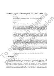 Nonlinear physics of the ionosphere and LOIS/LOFAR - Swedish ...