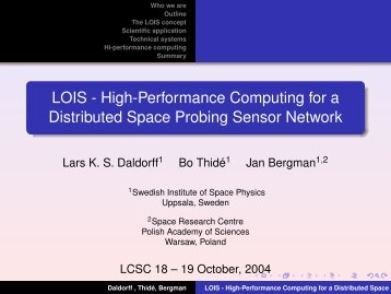 LOIS - High-performance computing for a distributed space probing ...