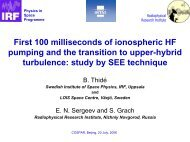 First 100 milliseconds of ionospheric HF pumping and the transition ...