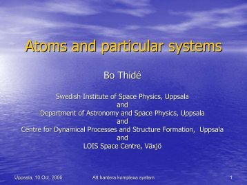 Complex systems - Swedish Institute of Space Physics - Uppsala