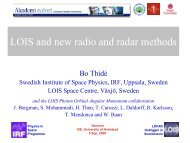LOIS and new radio and radar methods - Swedish Institute of Space ...