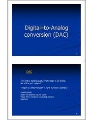 Digital–to-Analog conversion (DAC)