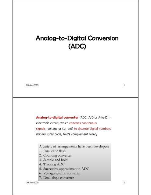 Analog-to-Digital Conversion Digital Conversion (ADC)
