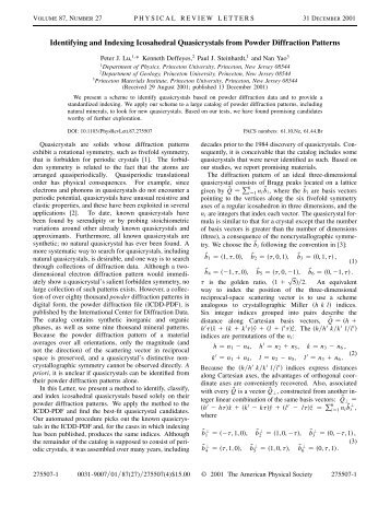 Identifying and Indexing Icosahedral Quasicrystals from Powder ...