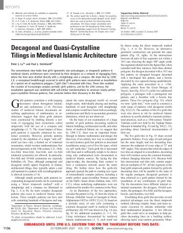 Decagonal and Quasi-Crystalline Tilings in Medieval Islamic ...