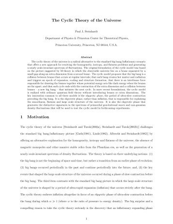 The Cyclic Theory of the Universe - Department of Physics ...