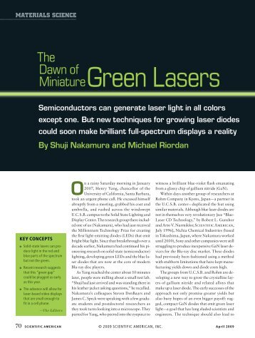 The Dawn of Miniature Green Laseres - Scientific American Digital